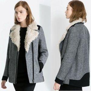 Zara Trafaluc Grey Wool Blend Coat Faux Fur sz M